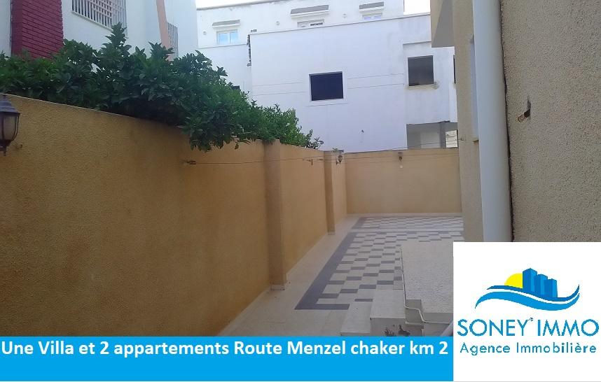 Villa et 2 app5artements route de menzel chaker km 2